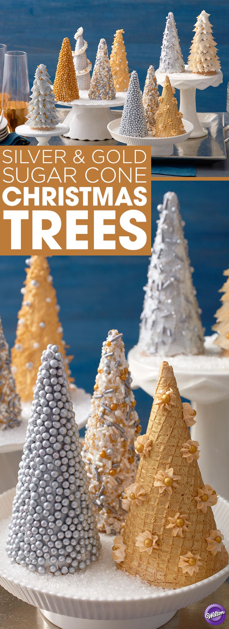Silver and Gold Sugar Cone Christmas Trees - Create a forest of metallic trees with this Silver and Gold Sugar Cone Christmas Trees display. Fun for handing out as gifts or using as an edible Christmas dinner centerpiece, these glowing trees are decorated using an assortment of edible accents, including sprinkles, Sugar Pearls, Pearl Dust and Color Mist Food Color Spray.