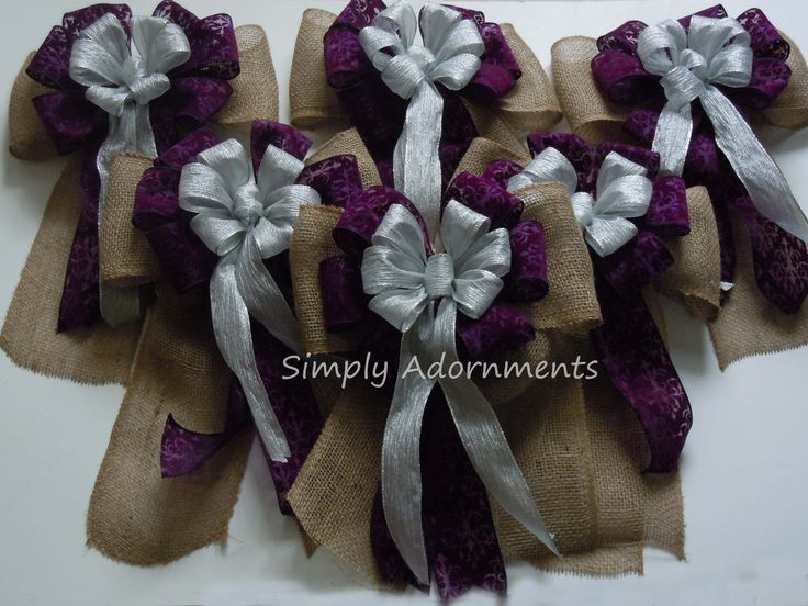 Shabby chic rustic burlap purple and silver wedding pew bow