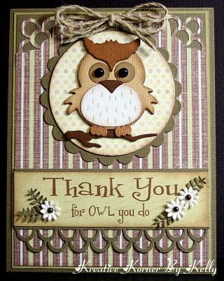 """ADORABLE owl card. made from the Go Kreate die - 4""""x4"""" - Owl #1"""