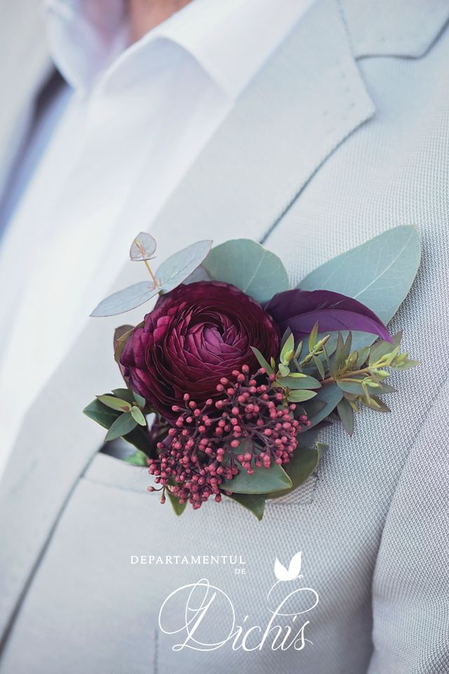 Beautiful ranunculus wedding buttonier for our burgundy concept.
