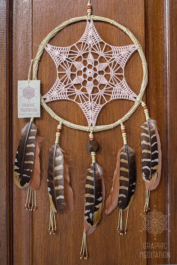 Doily dream catcher wall hanging Crochet by GraphicMeditation