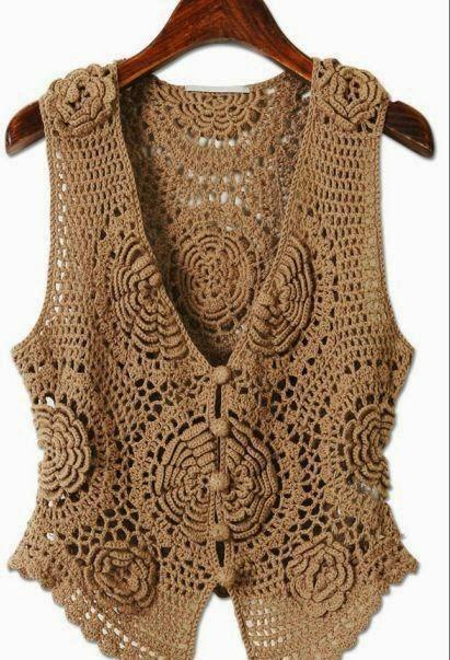Crochet y dos agujas: Un lindo chaleco con flores 3D - diagramas ...