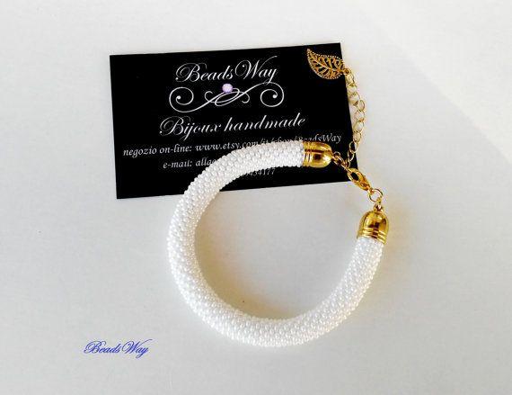 Bracelet /Bracelet of beads/Bracelet white Bracciale di BeadsWay