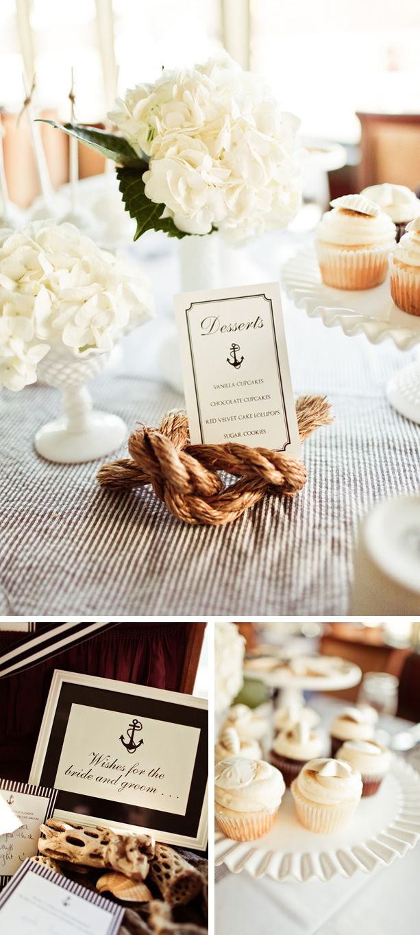 SO IN LOVE with this nautical themed wedding. Anchors are my favorite.