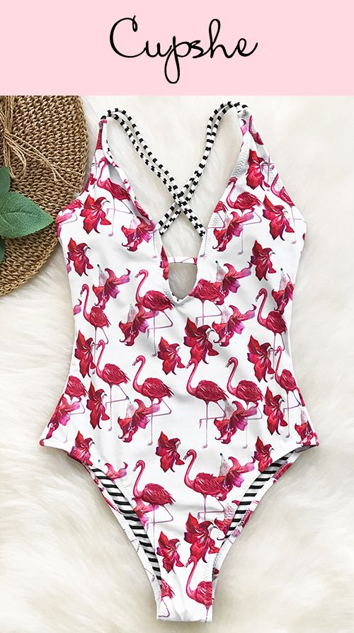 23f4d8213a3 Let trendy style hits beach! With pretty flamingo & floral prints, Cupshe  Free To Fly Print One-piece Swimsuit features unique lace-up design, comfy  & chic!