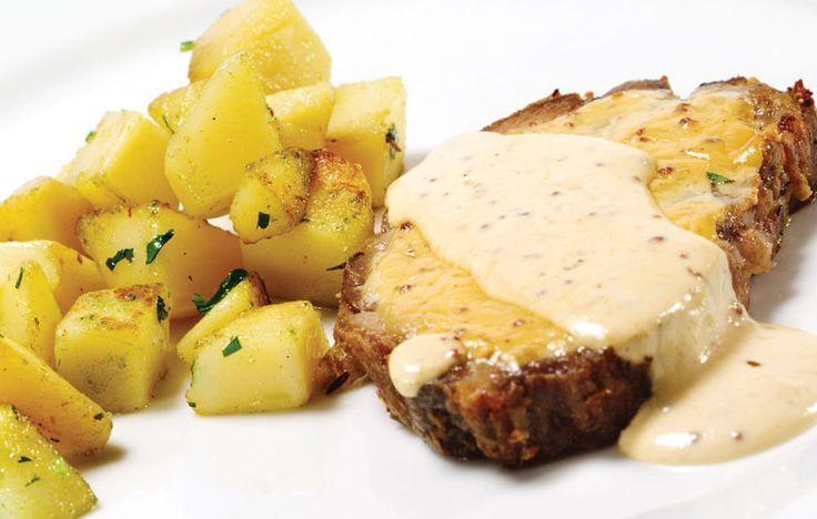 Pork with mustard cream sauce