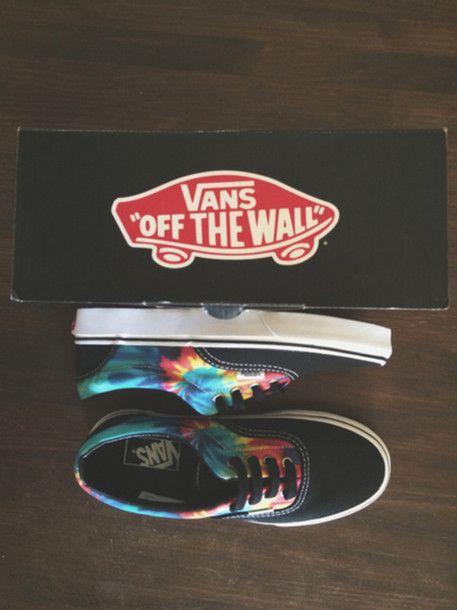 shoes vans black indie hippie girl rainbow psychedelic skater tie dye colourful vans vans of the wall tumblr tumblr girl tumblr shoes cool cool teens