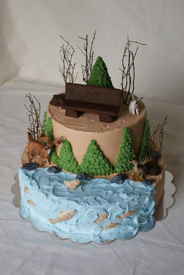 Outdoor cake fit for a hunter angler or outdoor for Outdoor wedding cake ideas