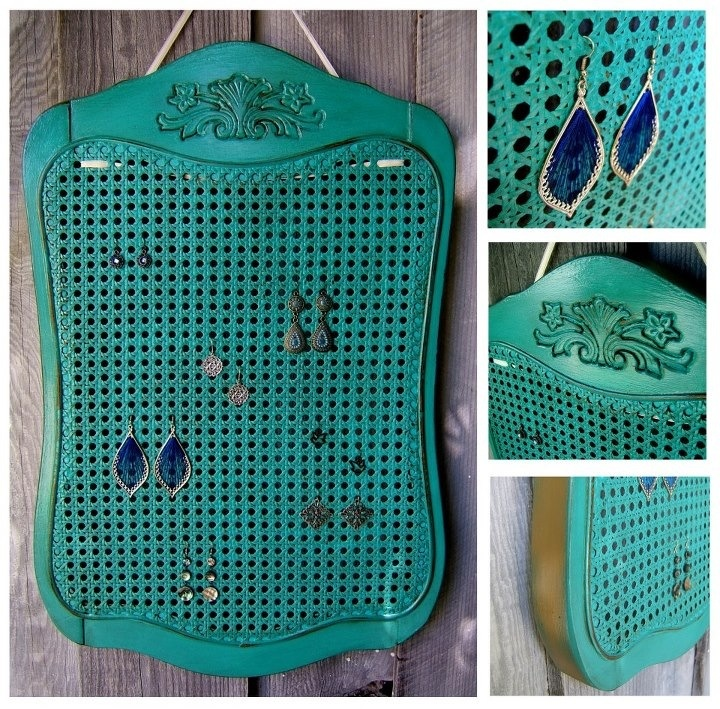 Repurpose back of an old chair for earring holder! Love the cane