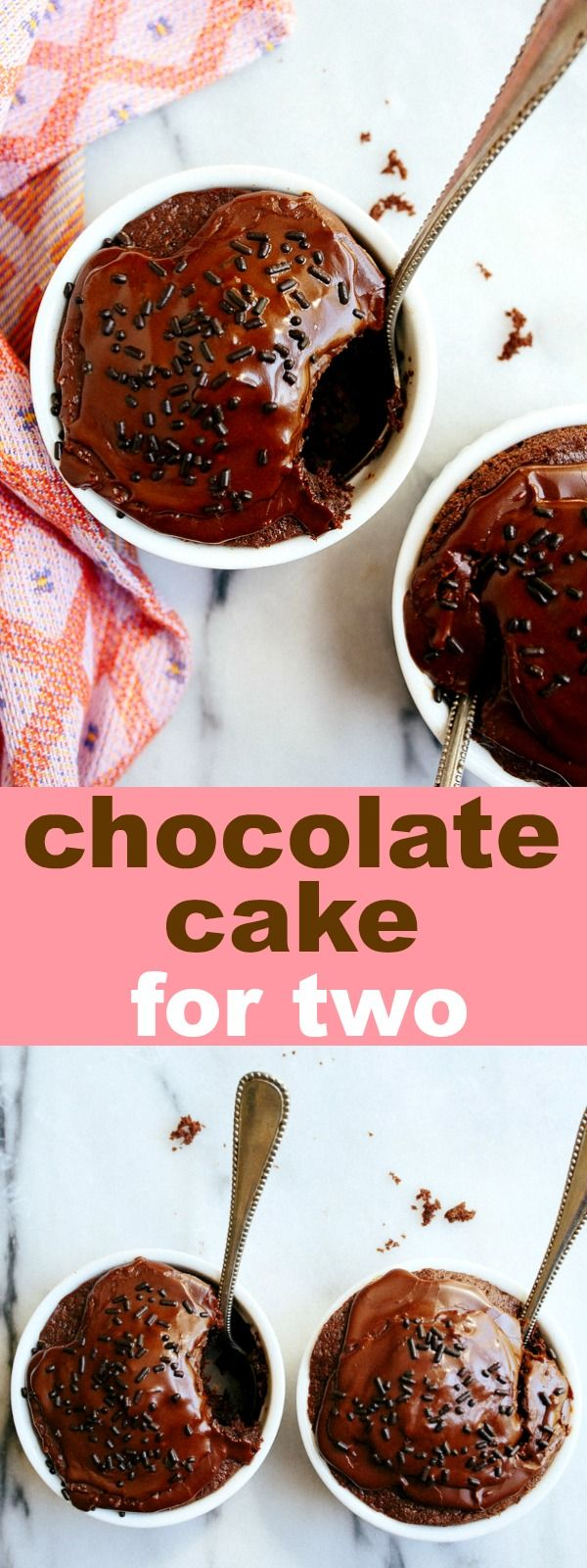 Mini chocolate cakes for two made in two ramekins. Cake baked in ramekins for two servings, the best chocolate dessert for two.