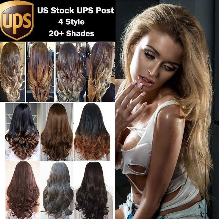 Long Hair no Bangs Half Wig Real Thick Straight Curls Wave Ombre Two Tone Wigs #Unbranded #HairFallHalfWig