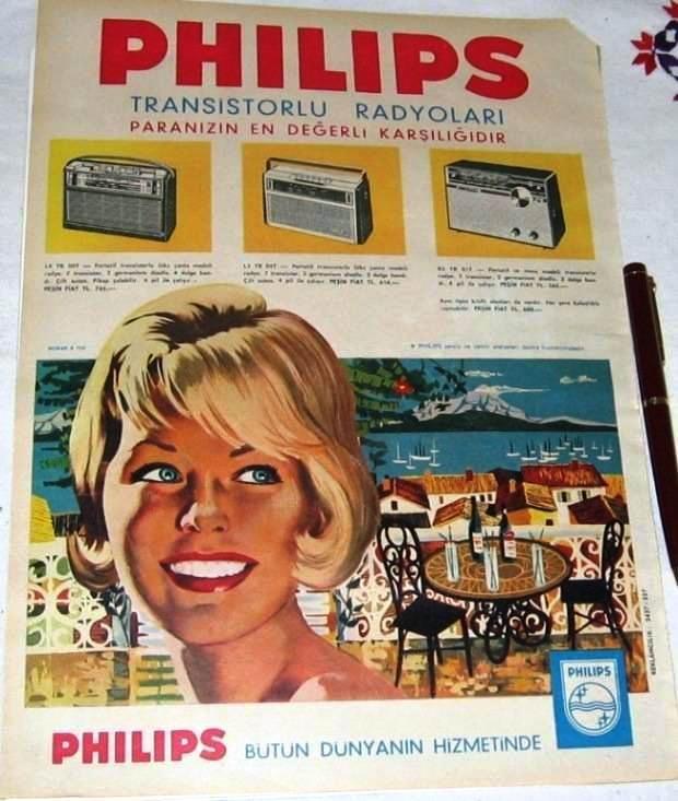 1960lar Philips Transistörlü Radyo Reklam Afiş