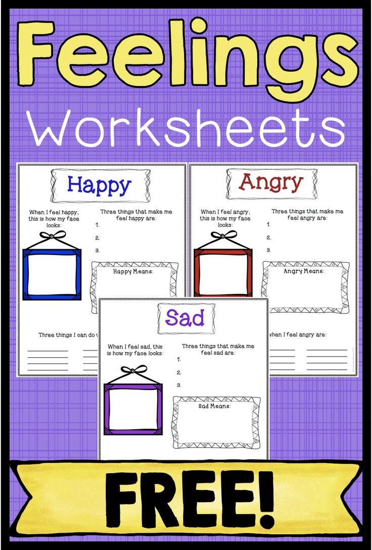 These free feelings worksheets are a great way to teach your students about the feelings of happiness, anger and sadness. For each worksheet, students will write about what the feelings look like, what makes them feel that way, what they mean, and how to cope with the feelings. Click through to get the free worksheets!