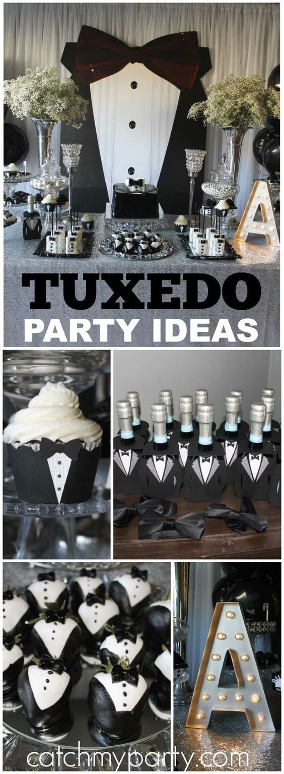 What an amazing black and white tuxedo birthday party! See more party ideas at CatchMyParty.com!