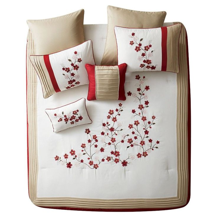 Red Cherry Blossom Comforter Set (Queen) 7 Piece - Vcny