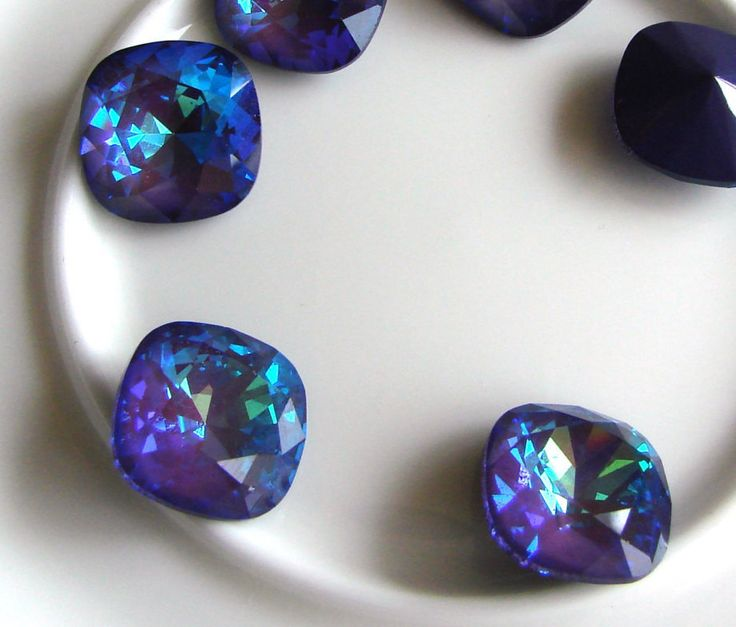 1 pcs Swarovski 4470 Crystal Fancy Stone 12mm. Square Cushion Cut 12mm Fancy Stone. Color Ultra blue AB, Ultra Pink AB, Ultra purple AB, by Vladbeads on Etsy