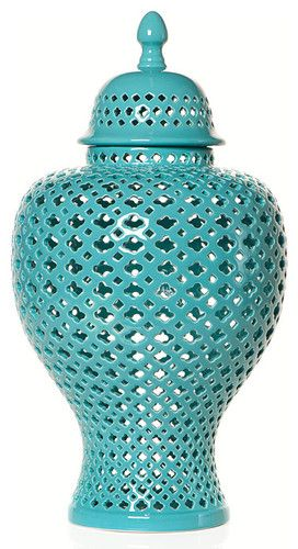 perhaps a punch of turqoise-y teal in the family room?? Aquamarine Filigree Urn by Z Gallerie