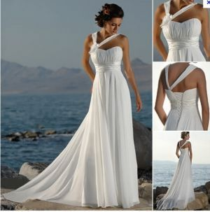 Greek Goddess Wedding Theme | Romantic Beach Theme Wedding Dress on Cchappiness.com