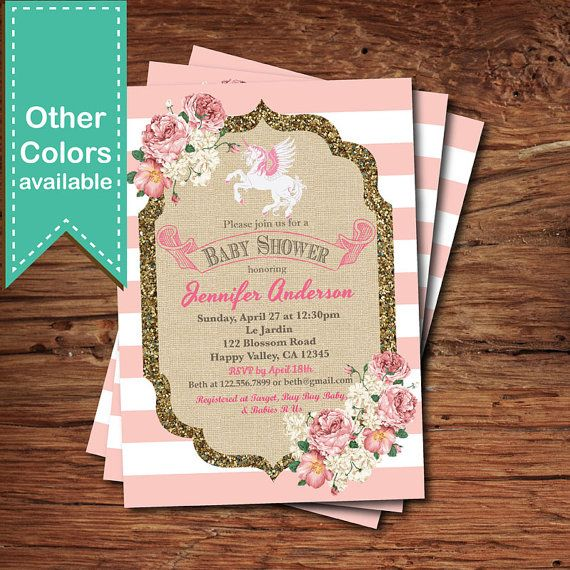 Unicorn baby shower invitation. French pink stripes by CrazyLime