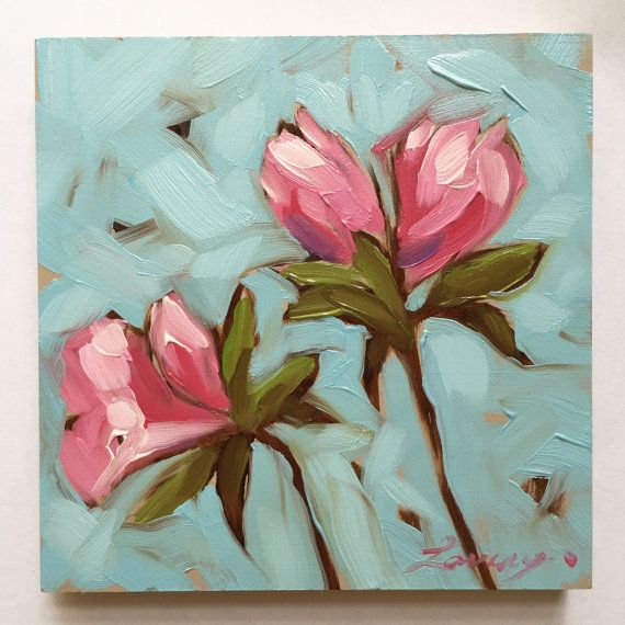 Flower Painting Pink Azalea flowers 4x4 inch by LaveryART on Etsy