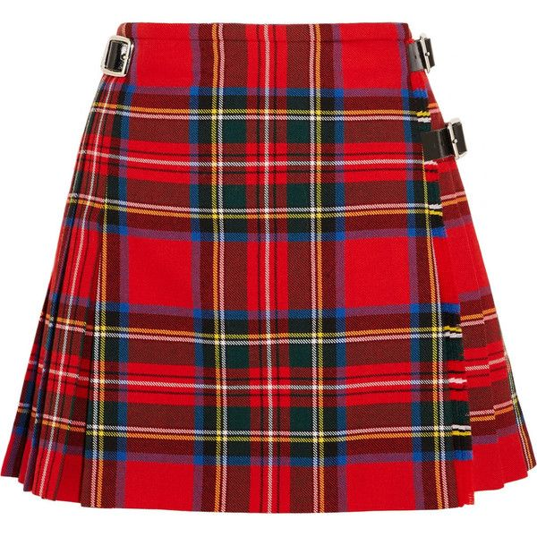 Christopher Kane DNA glossed leather-trimmed tartan wool mini skirt ($710) ❤ liked on Polyvore featuring skirts, mini skirts, bottoms, red plaid skirt, short mini skirts, high waisted mini skirt and plaid pleated mini skirt