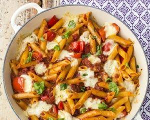 Chorizo pasta bake recipe