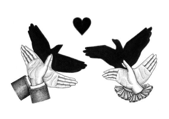 Lovebirds / Victorian Hand Shadow Puppets Print by RheannonOrmond1