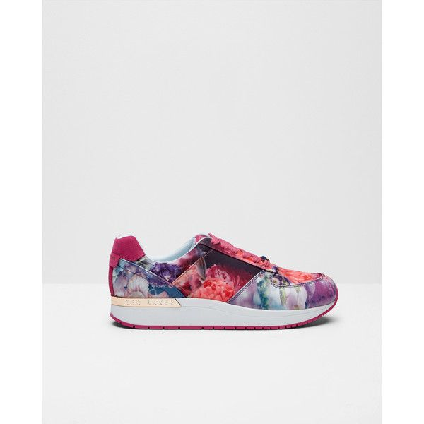 Ted Baker Printed trainers Powder Blue (6,440 DOP) ❤ liked on Polyvore featuring shoes, sneakers, powder blue, print shoes, ted baker shoes, ted baker, metallic sneakers and powder blue shoes