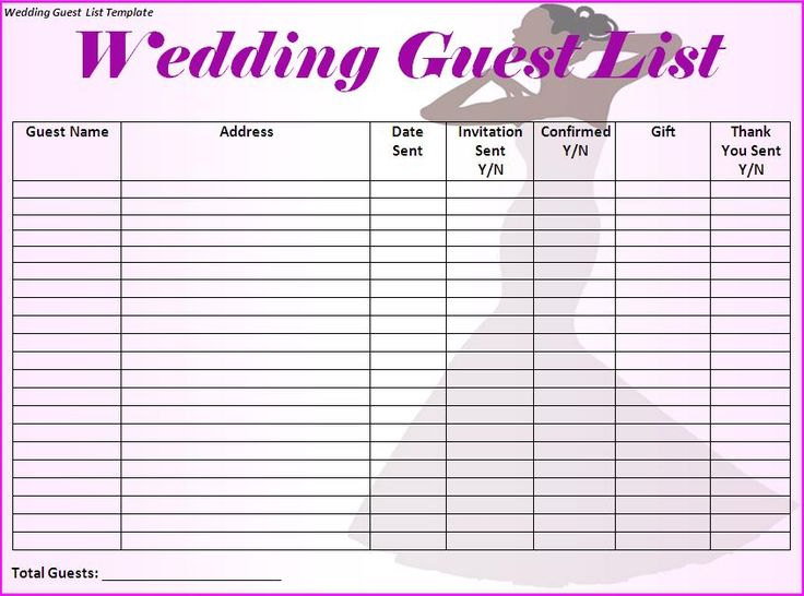 Wedding Guest List Will Contain Names Of Guests Along With Their Contact Numbers And Ad That