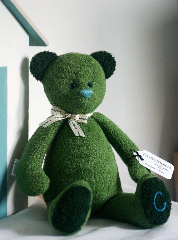 Handmade OOAK custom artist blue eyed teddy bear in by FifiStitch