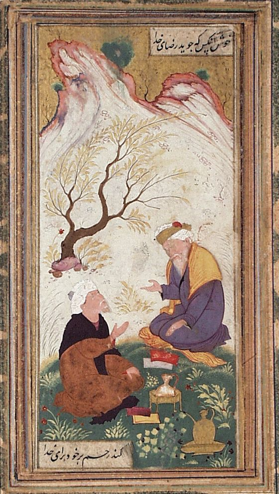 Two Bearded Men in Conversation in a Landscape Iran, Isfahan, 1650