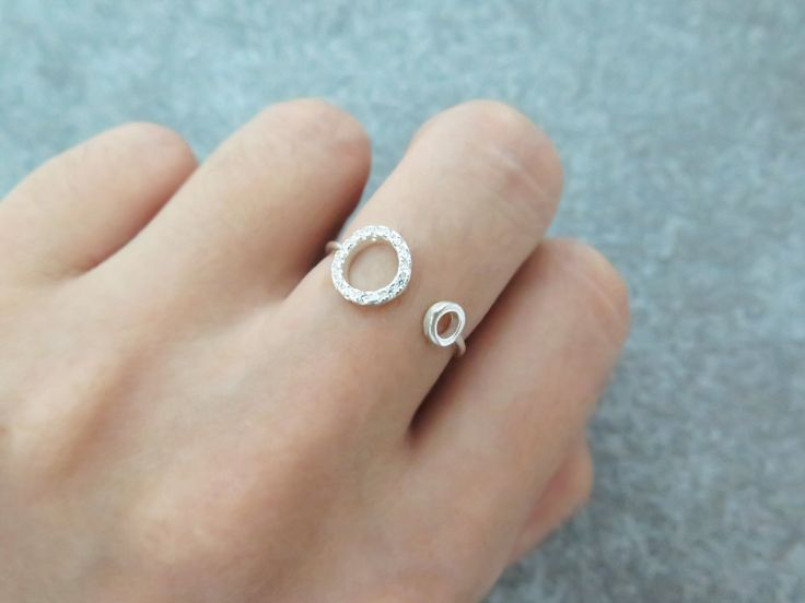 Circle CZ ring/Adjustable ring/Sterling silver open ring/Silver ring/CZ…