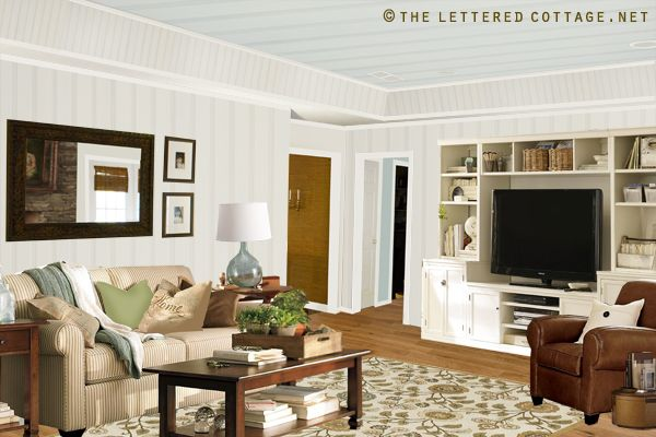Popcorn Ceiling To Plank Ceiling | The Lettered Cottage: Letteredcottage, Entertainment Center Also, Family Room, Charm Offers, Living Room Inspiration Jpg, Cottage Ish Inspiration, Entertainment Centers