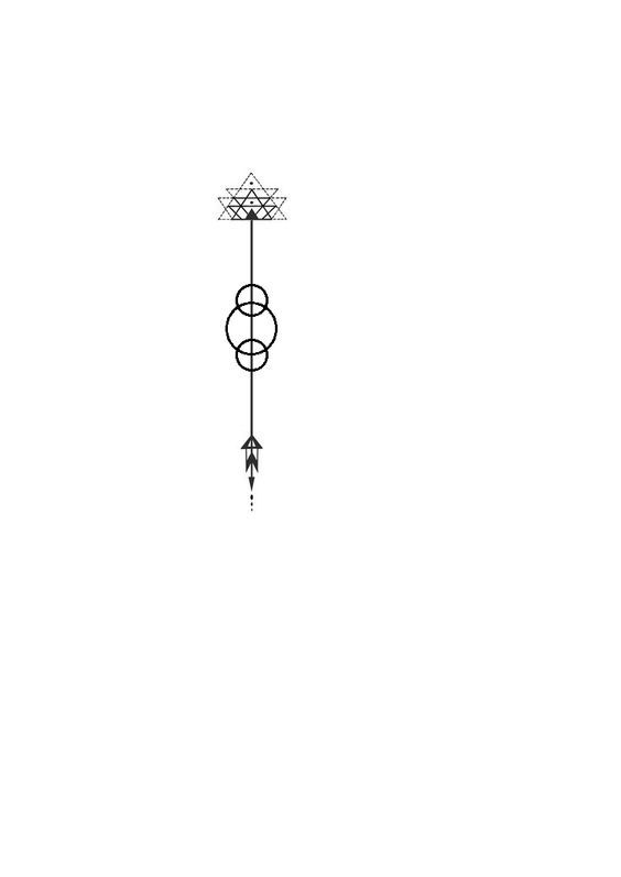 Arrow flower alchemy fire geometric tattoo. With three circles added to the original design.: