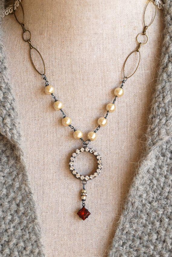 Skyler. Calcite gemstoneglass beaded rhinestone by tiedupmemories