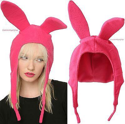 Louise Pink Bunny Ears Hat Bob's Burgers Cosplay Costume Halloween