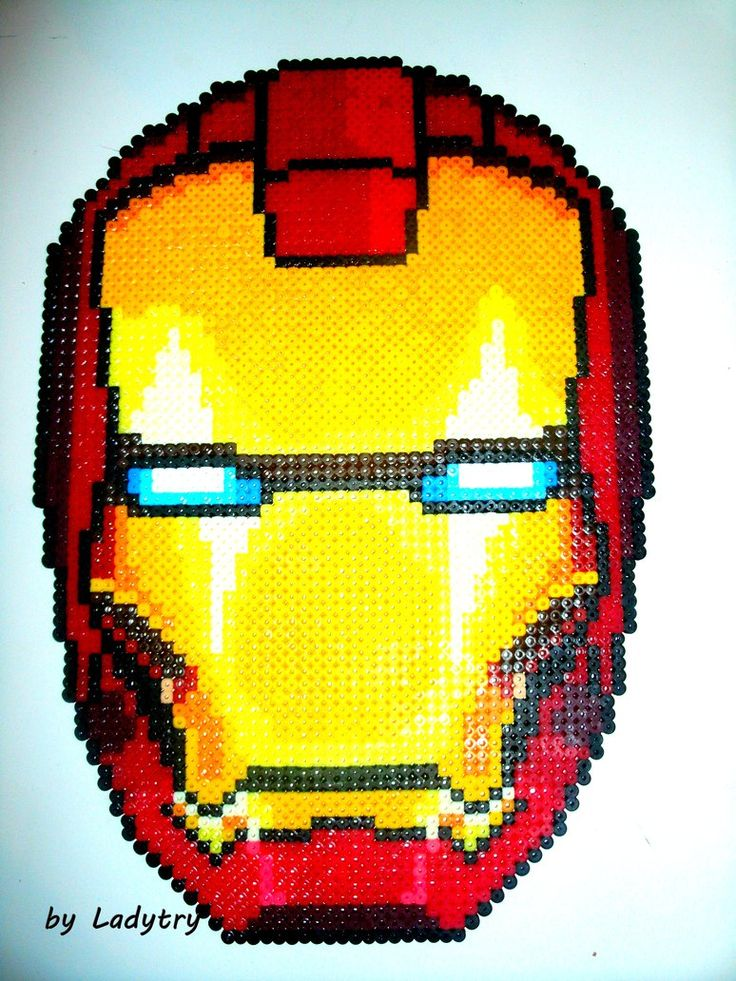 Iron Man's Helm perler pixel art by Kukirio | Project ...