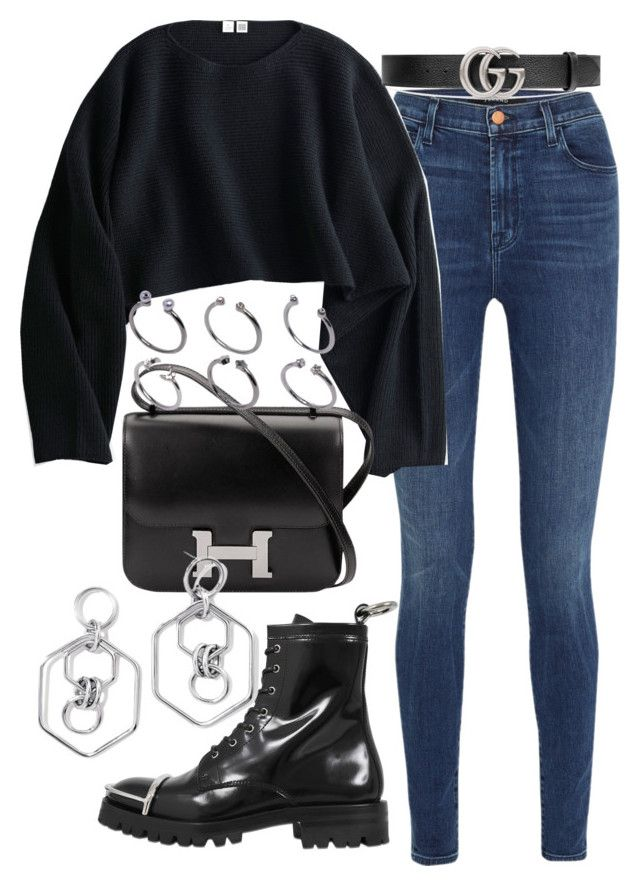 """""""Untitled #2623"""" by mariie0h ❤ liked on Polyvore featuring J Brand, Uniqlo, Alexander Wang, Hermès, ASOS, Gucci and BaubleBar"""