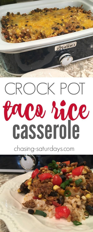 Crock Pot Taco Rice Casserole, Slow Cooker, Mexican, Hamburger, Easy Recipe, Chasing Saturdays