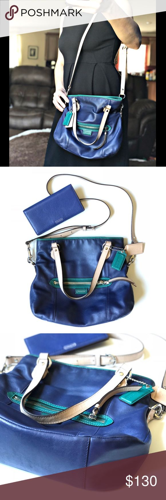 Blue and Teal Coach Purse with matching wallet Blue and Teal Coach Purse F23911 with matching wallet. Gently used. Smalls unnoticeable marks. Coach Bags Shoulder Bags