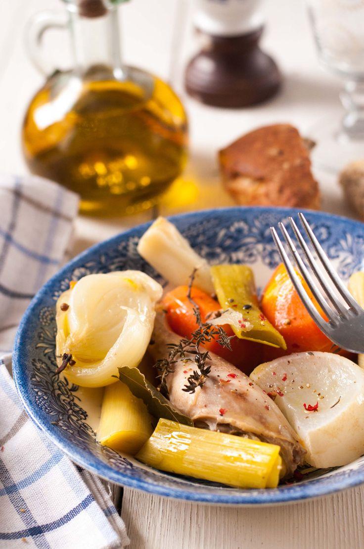 Poule-au-pot un peu « revisitée »,  Lentement cuite à basse température dans son propre jus (Sans lait, Sans oeufs, Sans gluten, IG bas)