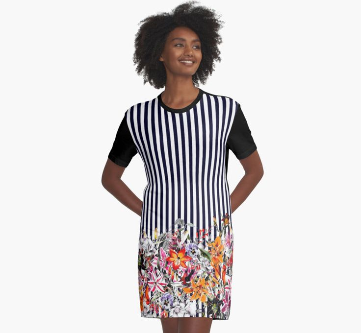Graphic T-Shirt Dresses Bloom Floral by talipmemis