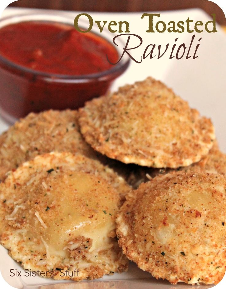 Oven Toasted Ravioli | My husband and I love Italian food and our toddler loves anything he can eat with his hands.  These made a delicious Italian meal for my husband and me, and a tasty finger food for the little one! | From: sixsistersstuff.com