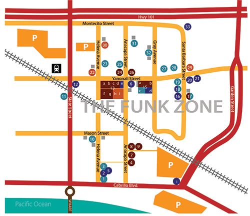 Quick and easy map to use the next time you visit Santa Barbara's Funk Zone!