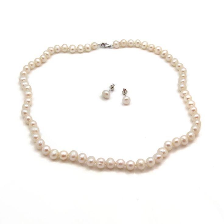 Set Orchira cercei și colier argint cu perle de cultură albe