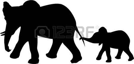 silhouette safari animals: ELEPHANT AND BABY