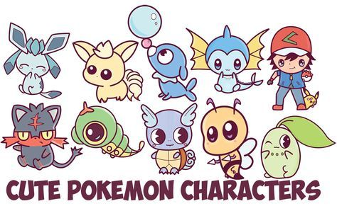 Today I have gathered the 10 of the most recent cute Kawaii / chibi Pokemon character tutorials that I have completed. This includes cute chibi / kawaii Glaceon, Ninetails, Litten, Popplio, Chikorita, Beedril, Wartortle,  Caterpie, Ash and Pikachu, and Vaporeon. Each of these chibi pokemon characters is adorable and easy to draw.