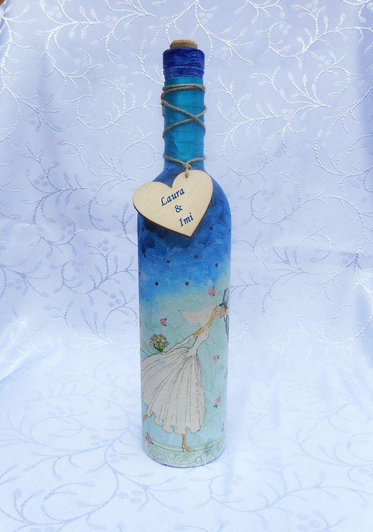 Szülőköszöntő ajándék üveg kék színű