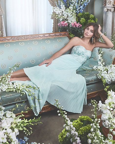 Le Chateau - Embroidered Mesh Strapless Gown - Be the belle of the ball in this gorgeously embroidered, strapless gown.