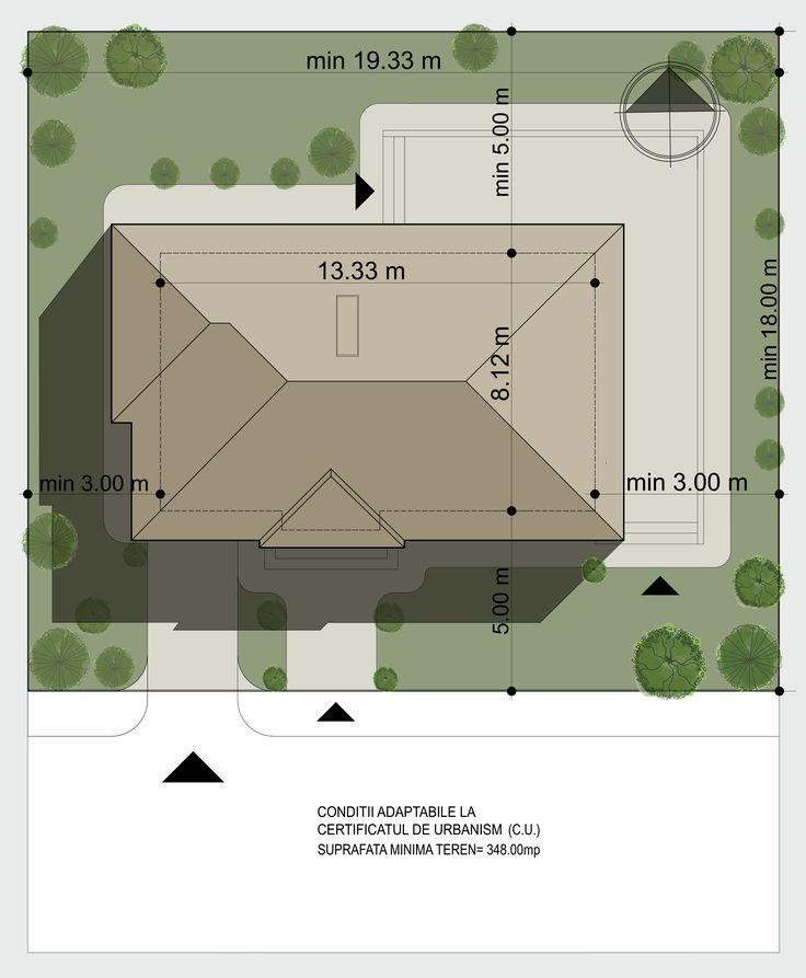 Casa cu etaj pentru o familie numeroasa- Plan de situatie | Modern home for a large family- Site plan | Etichete proiect: proiecte case cu etaj, proiecte case traditionale, proiecte case moderne